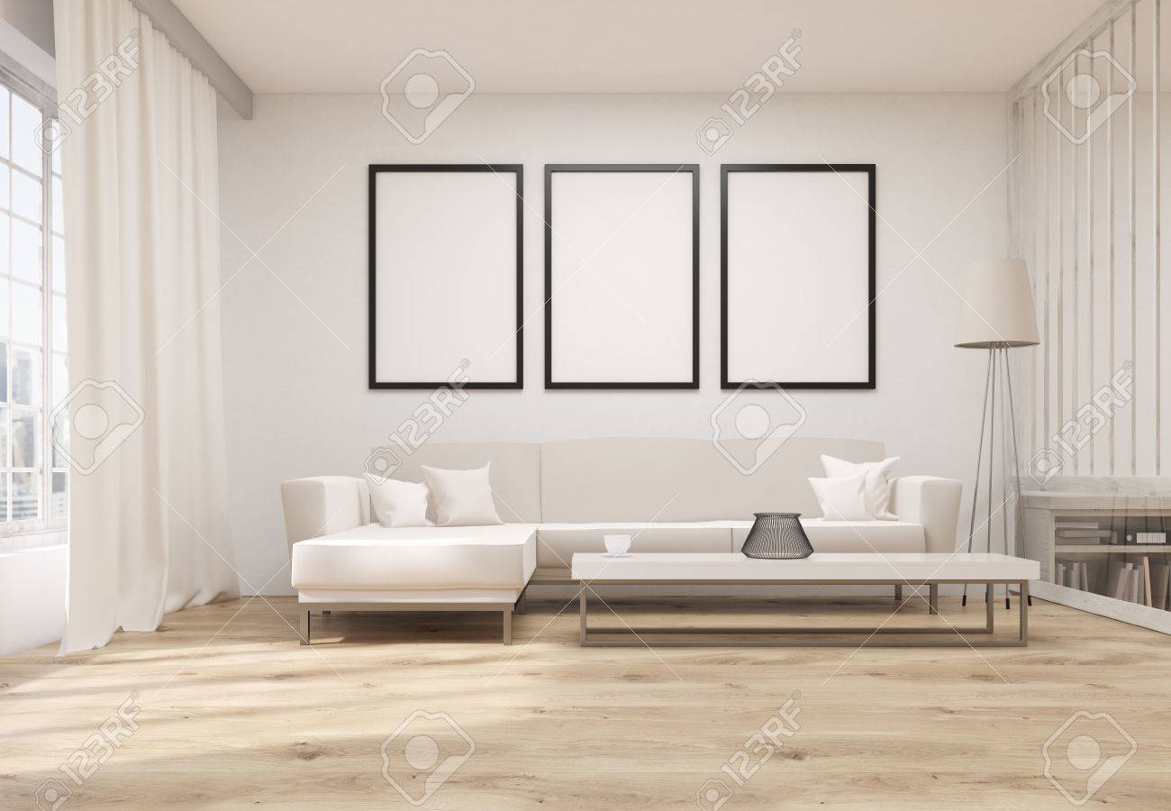 High Quality Front View Of Living Room Interior With Wooden Floor, Concrete Wall, Three  Blank Picture
