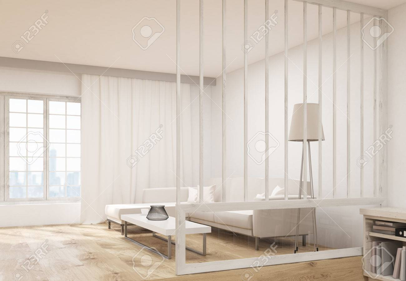 Side View Of Living Room Interior Design With Comfortable Sofa ...