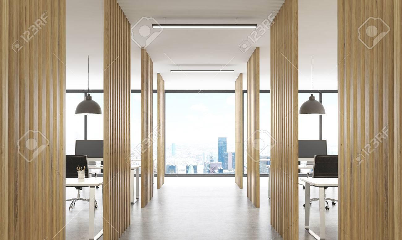Banque Du0027images   Intérieur Open Avec Des Cloisons En Bois, Sol En Béton,  Plafond Avec Lampes Et New York Vue Sur La Ville. Rendu 3D