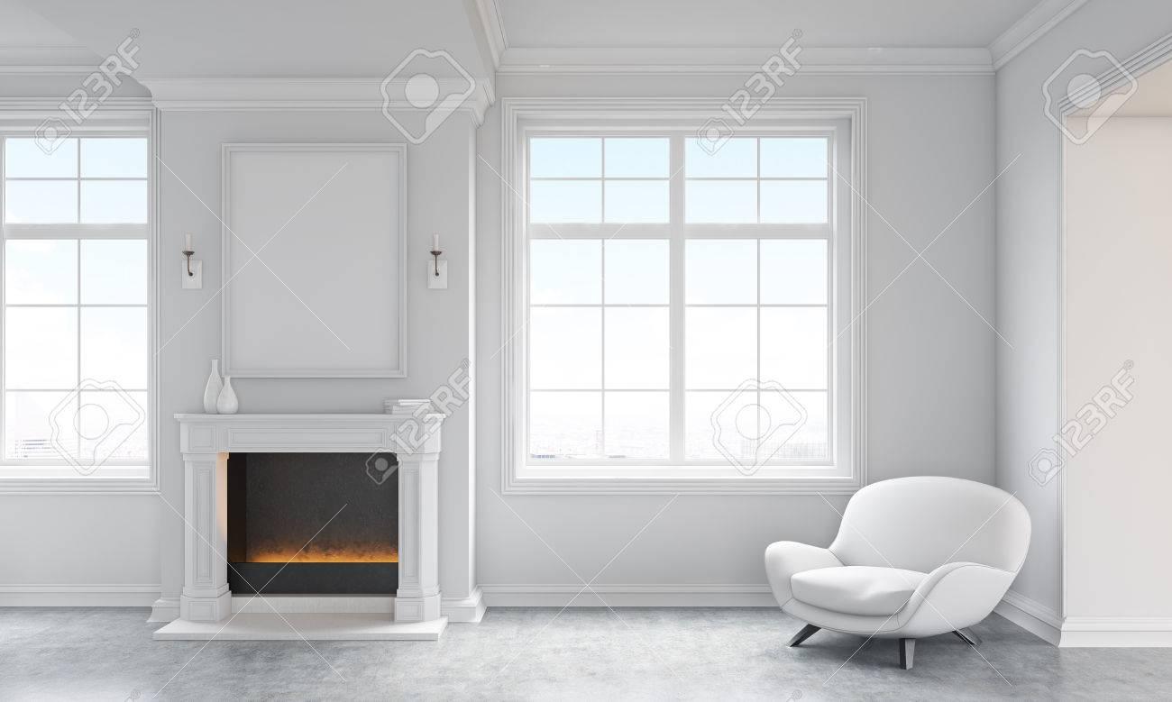 Frontansicht Des Klassischen Wohnzimmer Zwischen Mit Betonboden