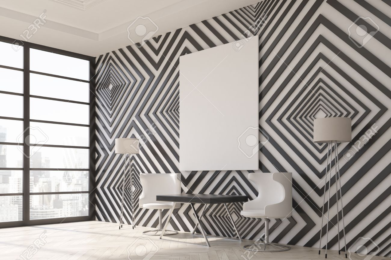 Modern Interior With Black And White Diamond Pattern Wallpaper Stock Photo Picture And Royalty Free Image Image 59650423