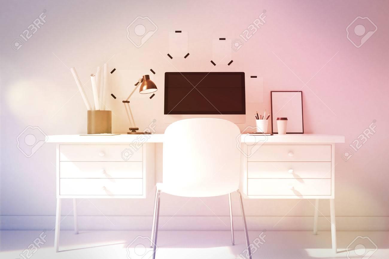 Elegantes Buro Der Computer Tabelle Zu Hause Poster Neben Dem