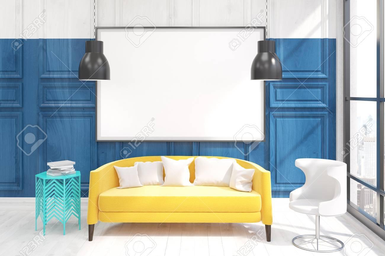 Wohnzimmer Mit Großem Gelbem Sofa. Großes Plakat Auf Blauer Wand. 3D  übertragen. Attrappe