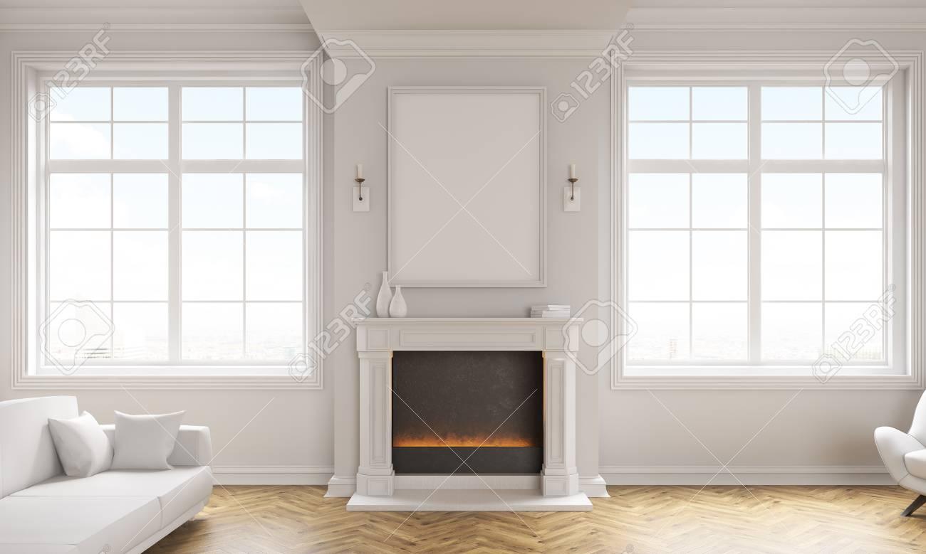 Frontansicht Des Klassischen Wohnzimmer Interieur Mit Holzboden ...
