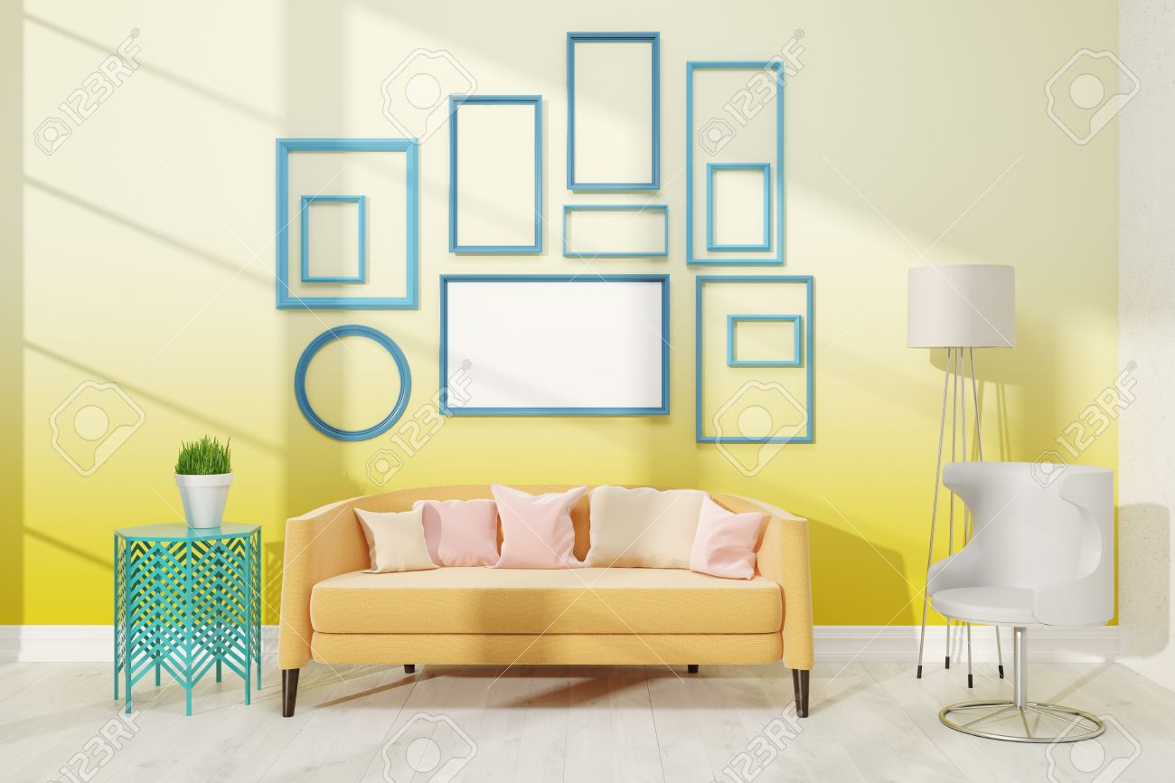 Contemporary Living Room With Medium Poster On Yellow Wall Large