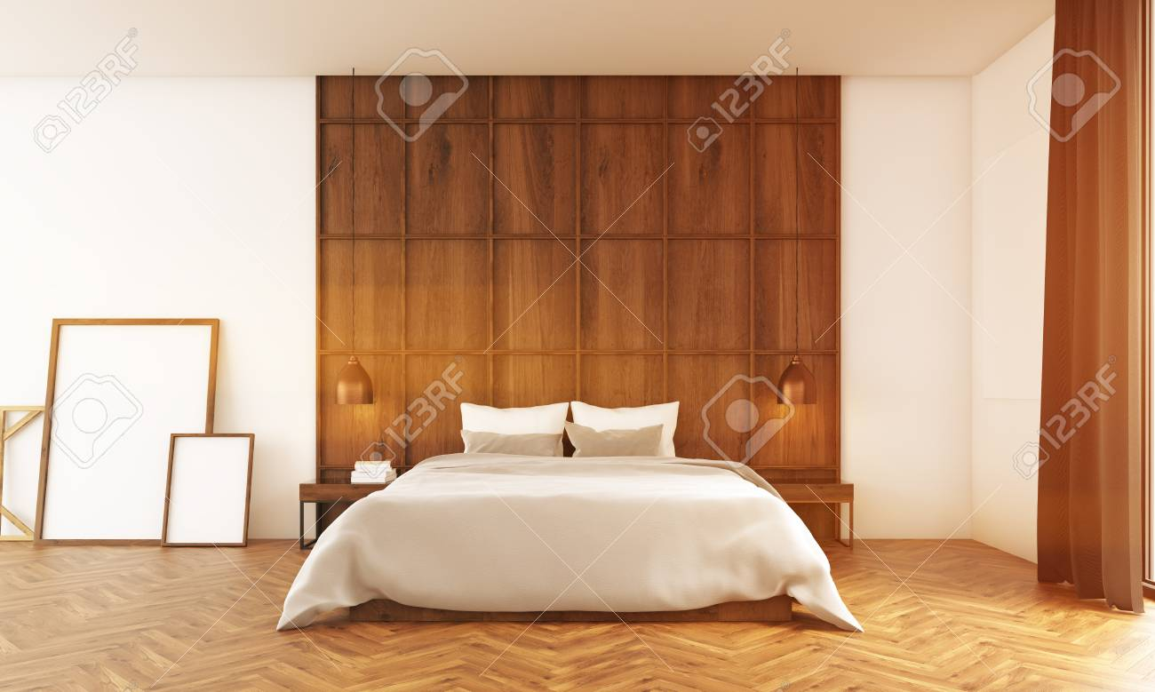 Grande chambre avec mur en bois et affiches près d\'itl. Lit confortable  dans le centre et rideaux marron. Rendu 3D Maquette. Image tonique