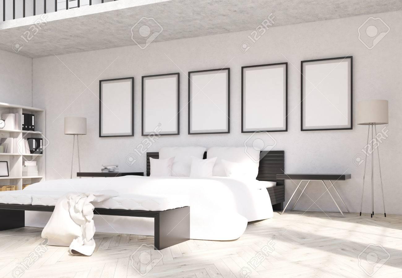 Seitenansicht Der Modernen Schlafzimmer Interior Design Mit Leeren