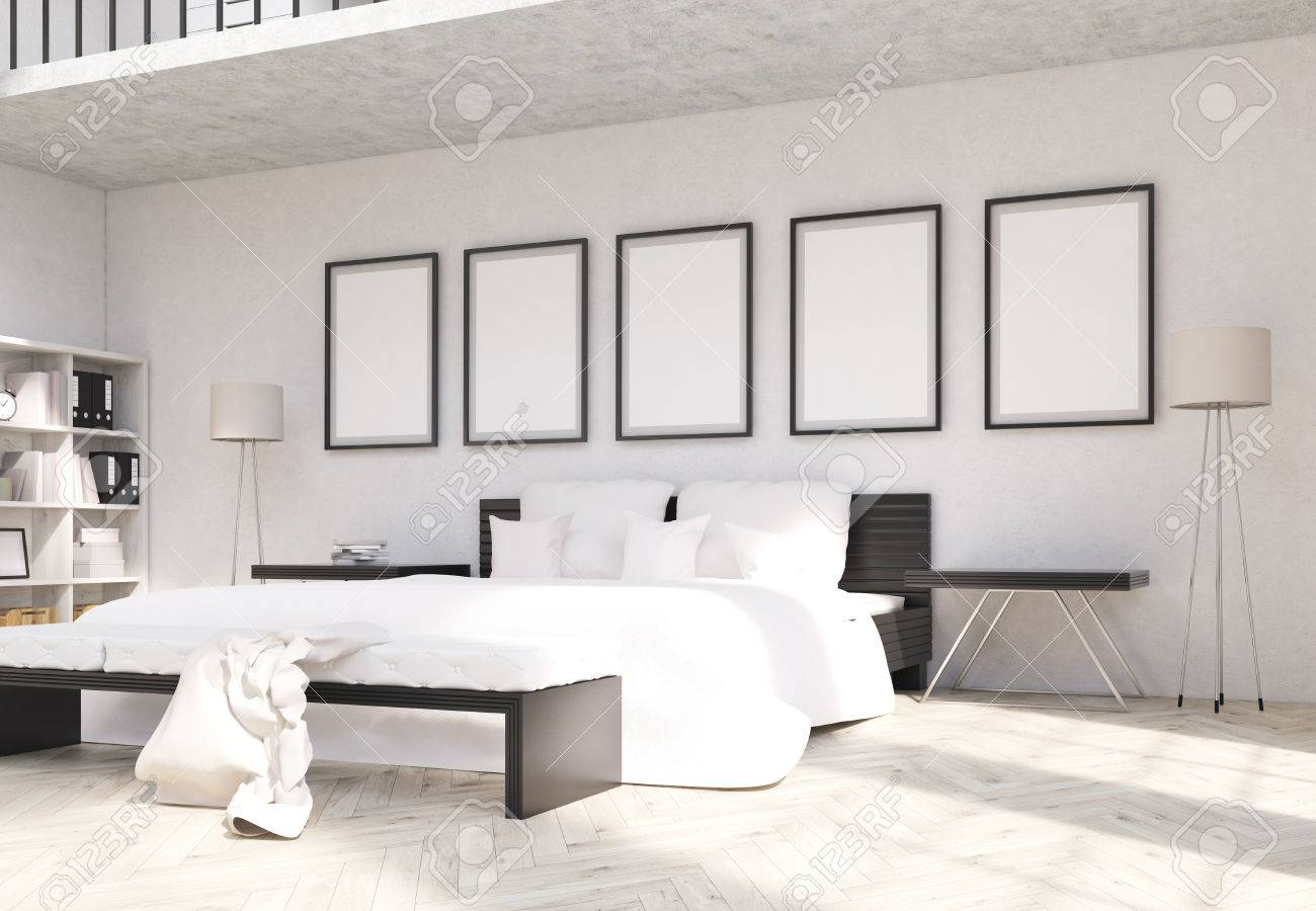 Side View Of Modern Bedroom Interior Design With Blank Picture ...