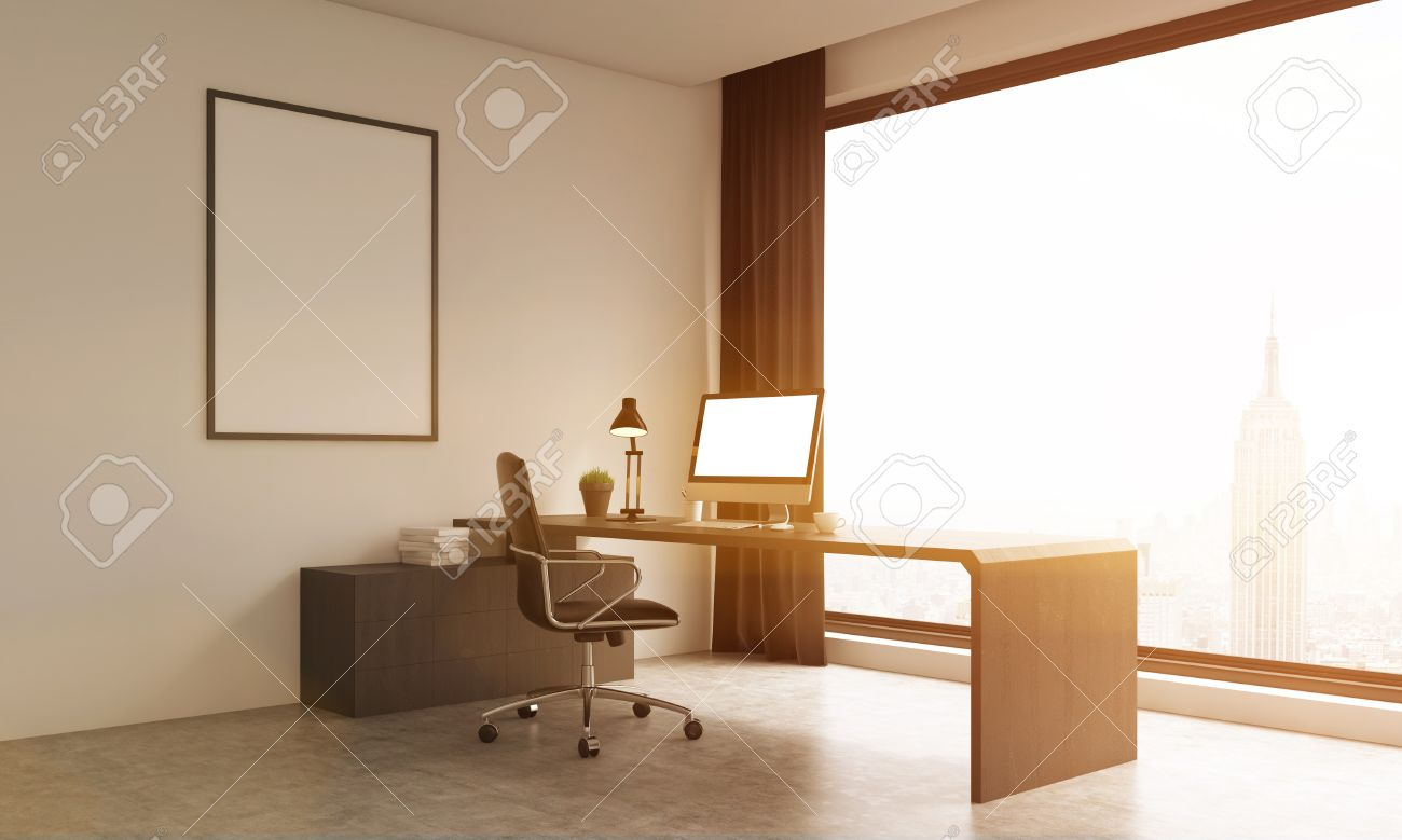 Modern office room with stylish furniture and New York background  Computer  on table  Large. Modern Office Room With Stylish Furniture And New York Background