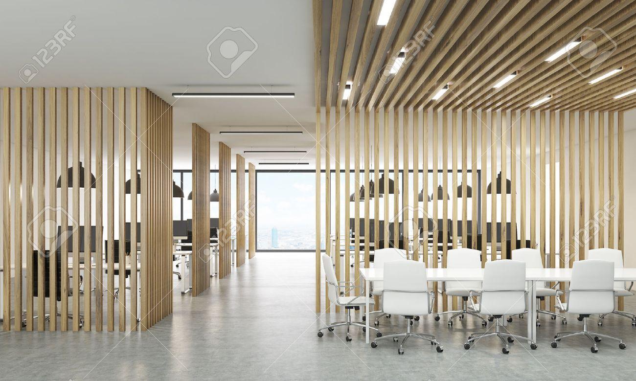Divisori In Legno Per Interni ufficio interno aperto con divisori in legno, new york vista sulla città e  la zona di incontro. rendering 3d