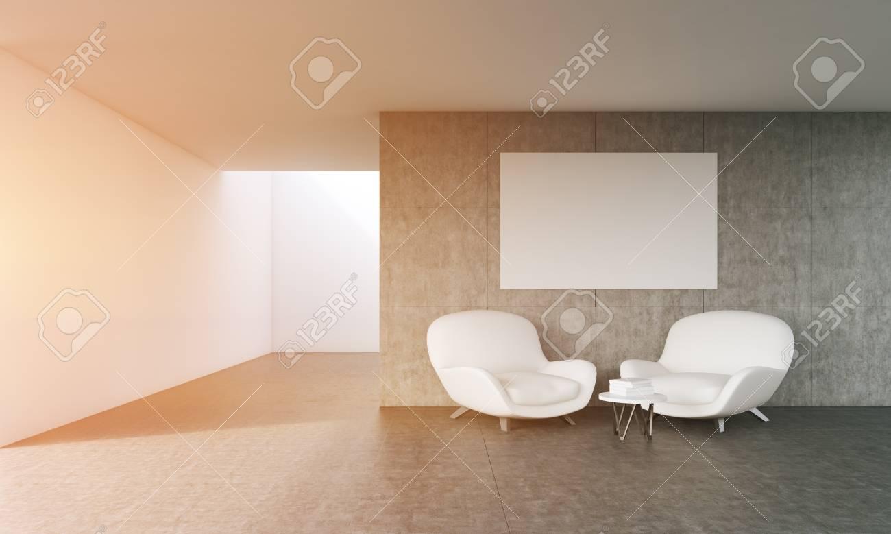 Gemütliches Wohnzimmer Mit Modernen Möbeln Und Großen Plakat An Der Wand.  Konzept Der Komfort.