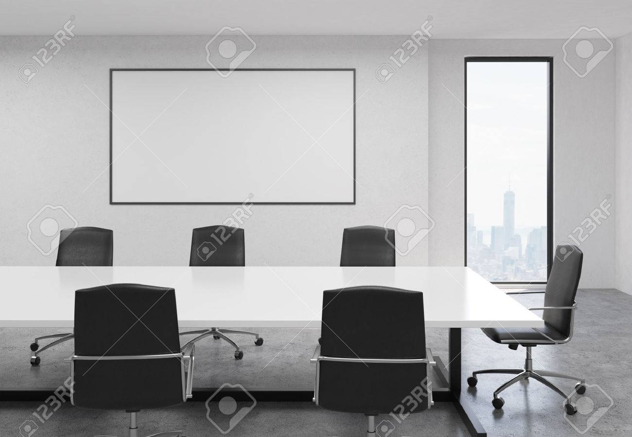 Side view of concrete conference room interior with blank whiteboard,..