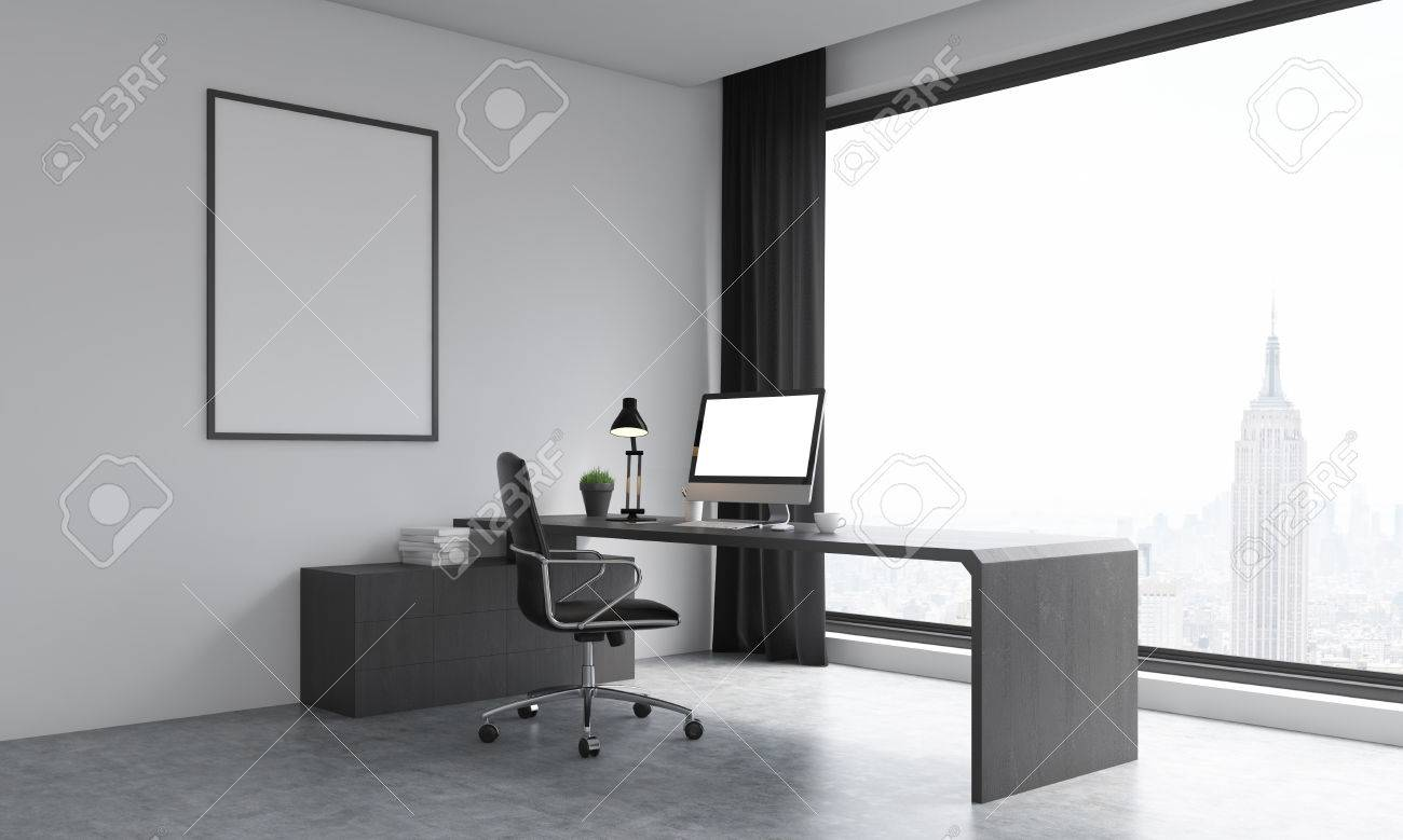 Office room with modern furniture and new york background large poster on wall big