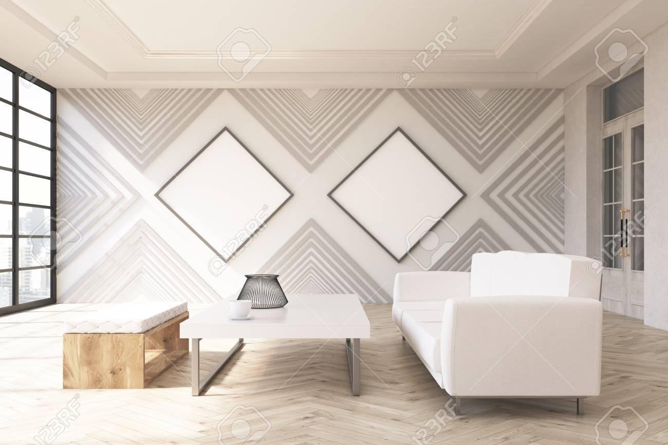 Moderne Wohnzimmer-Interieur Mit Zwei Leere Rautenförmigen ...