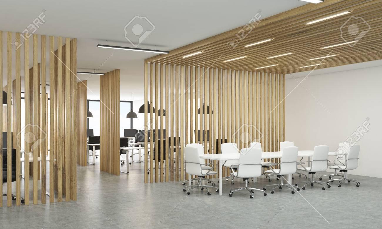 Banque Du0027images   Vue De Côté De Lu0027intérieur Ouvert De Bureau Avec Des  Cloisons En Bois, Sol En Béton Et Salle De Réunion. Rendu 3D