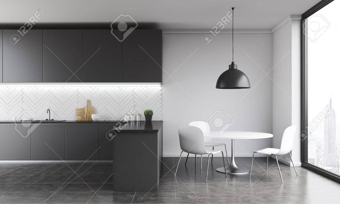 Intérieur De Cuisine Moderne Dans Un Appartement De New York. Grand ...