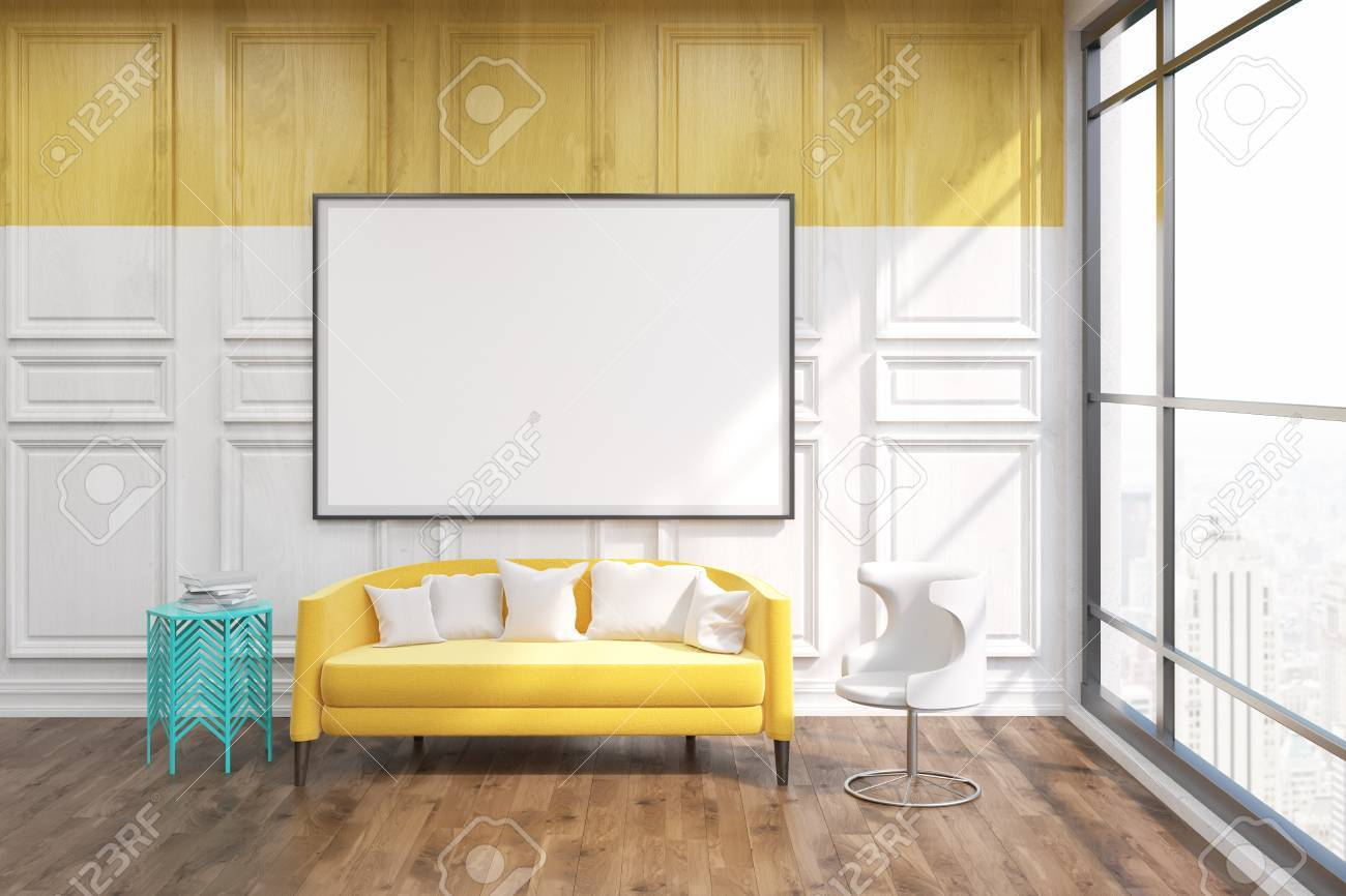 Living Room In New York. Yellow Sofa In Center. Big Whiteboard On Wooden  Wall