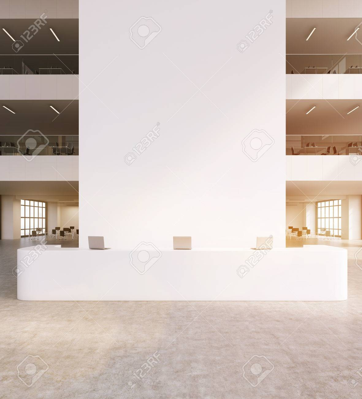 contemporary office reception. Big Reception Of Contemporary Office. Other Rooms In Background. Laptops On Desk. Concept Office A