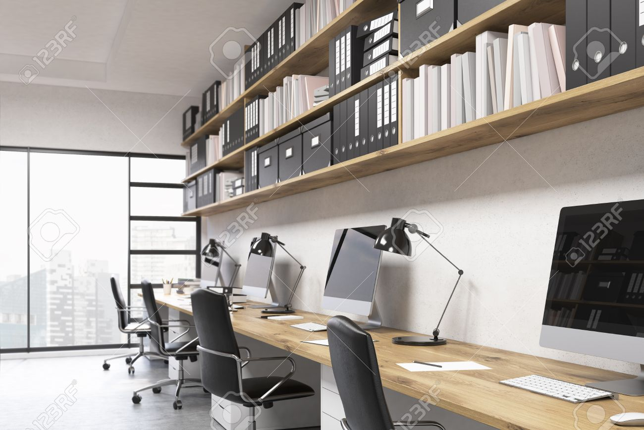 modern office shelving. Modern Office With Several Desk And Computes. Boxes Full Of Documents, Folders On Shelves Shelving