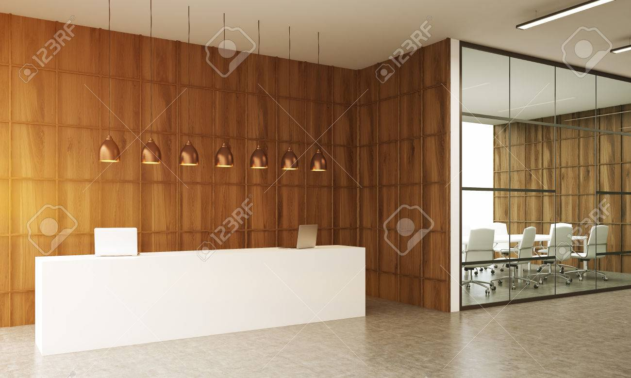 Conference Room Interior With Reception Table In Big City Office - Big conference table