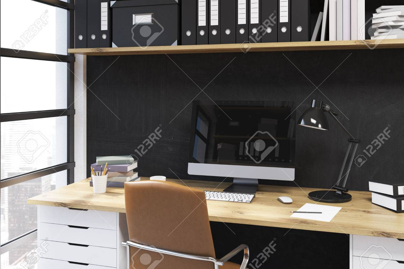 - Modern Working Place In Office. Desk With Lamp And Computer On