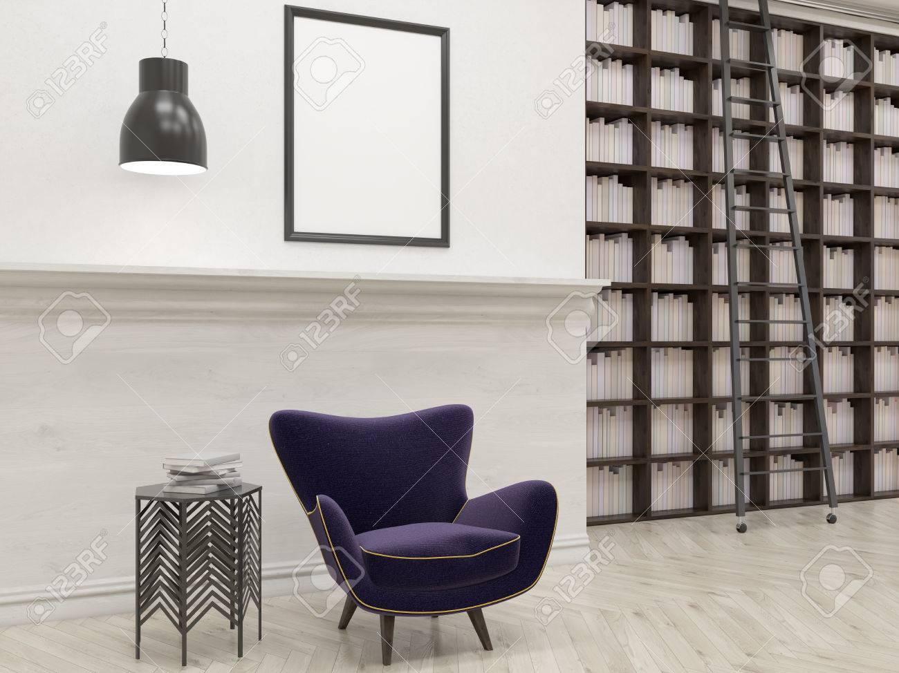 Bibliotheque De La Maison Hautes Etageres Echelle Table Basse Fauteuil Pourpre Encadree Image Sur Le Mur Blanc Parquet Concept De La Lecture Et