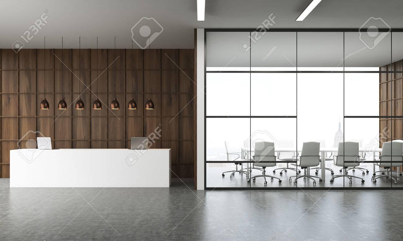 Réception à l intérieur de bureaux moderne à new york grande