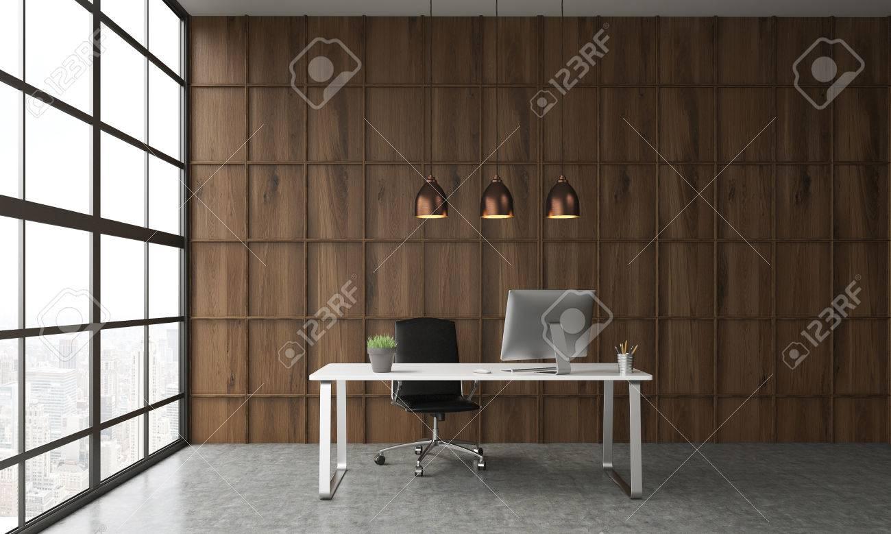 Intérieur avec bureau devant un mur en bois dans un bureau trois