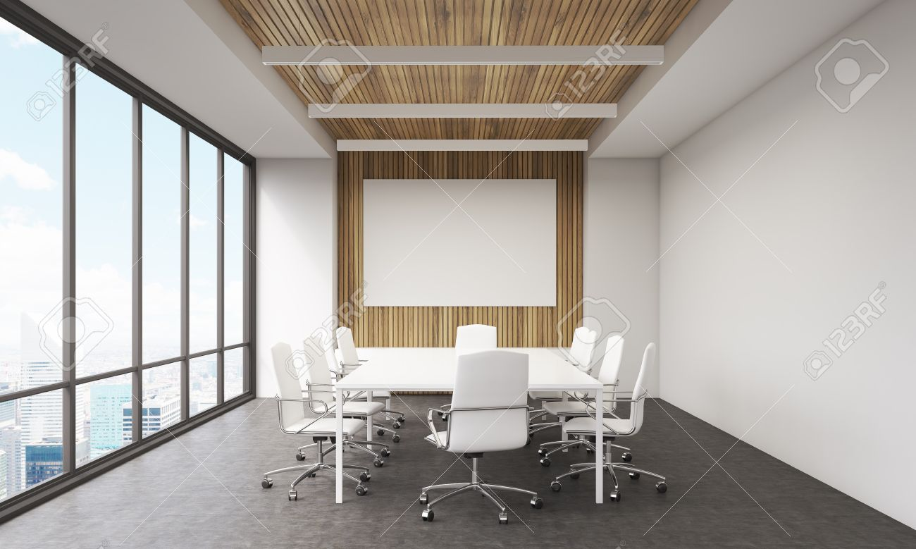 Meeting Room Interior In Modern Office Whiteboard Large Window Table And Leather Chairs