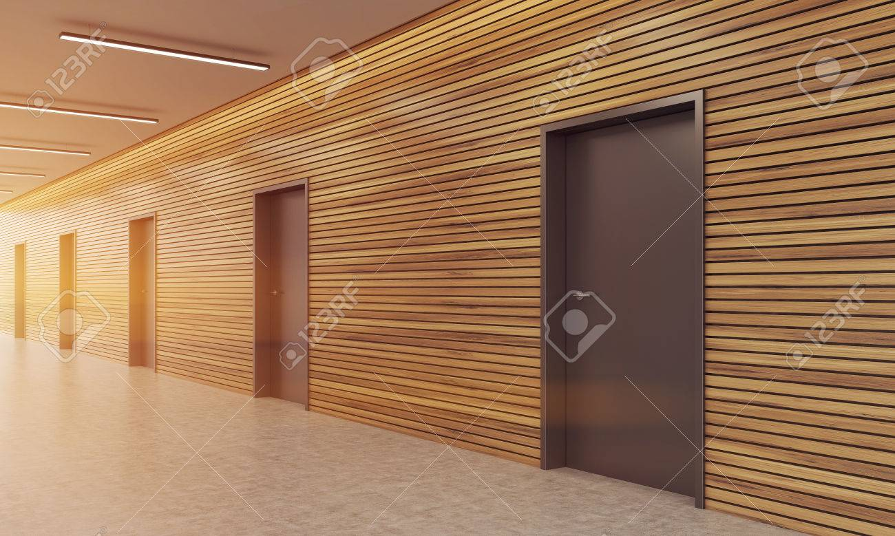 wooden office buildings. Corridor Of Modern Office Building With Wooden Wall And Several Doors. Concept Good Business Buildings A