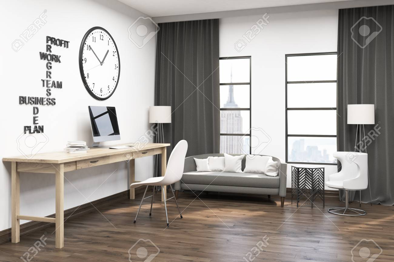comfortable home office. Spacious Home Office With Huge Clock On White Wall. Comfortable Sofa Under Windows Gray