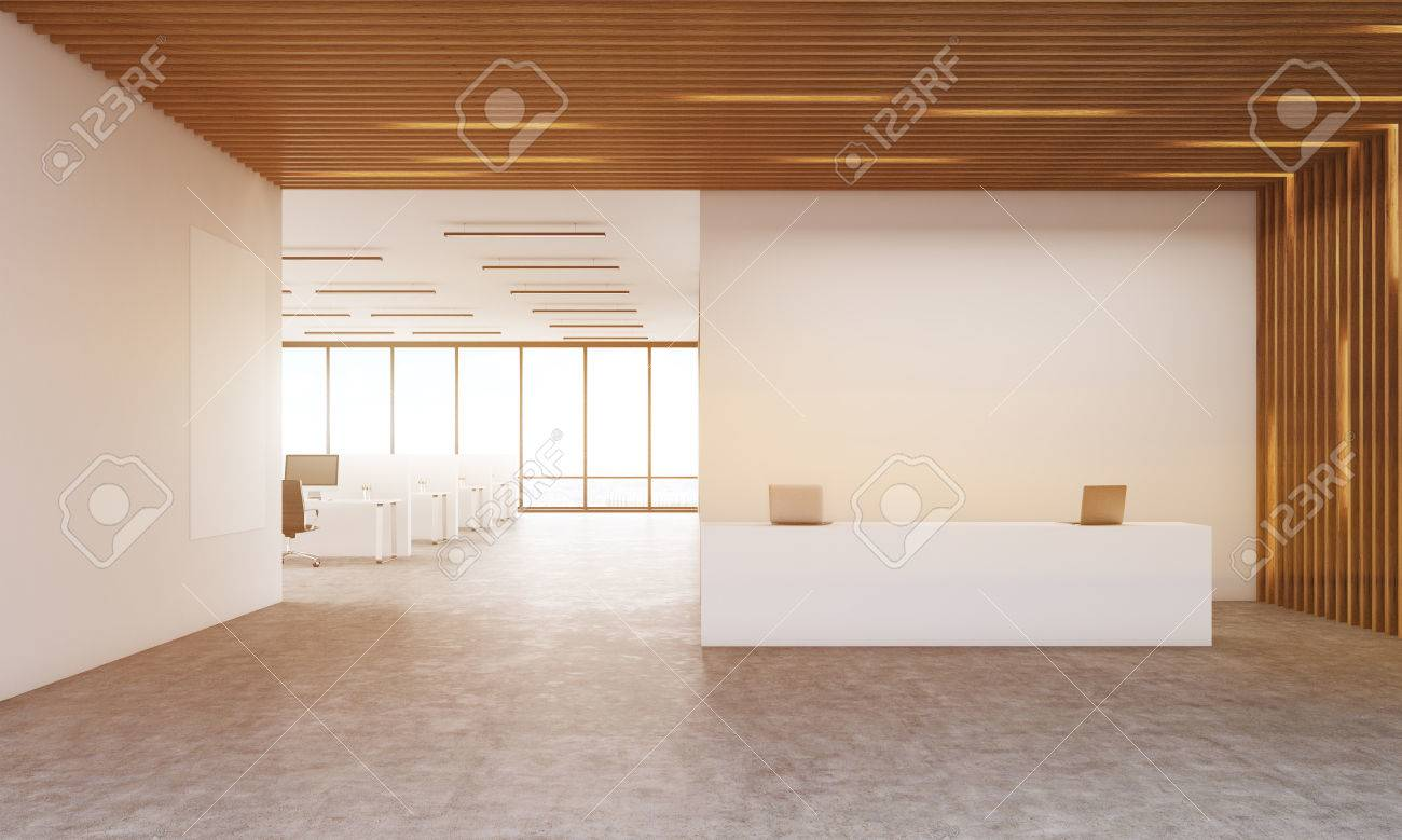 contemporary office reception. Modern Corporation Interior With Reception Desk And Office Room. Poster On Wall. Concept Of Contemporary
