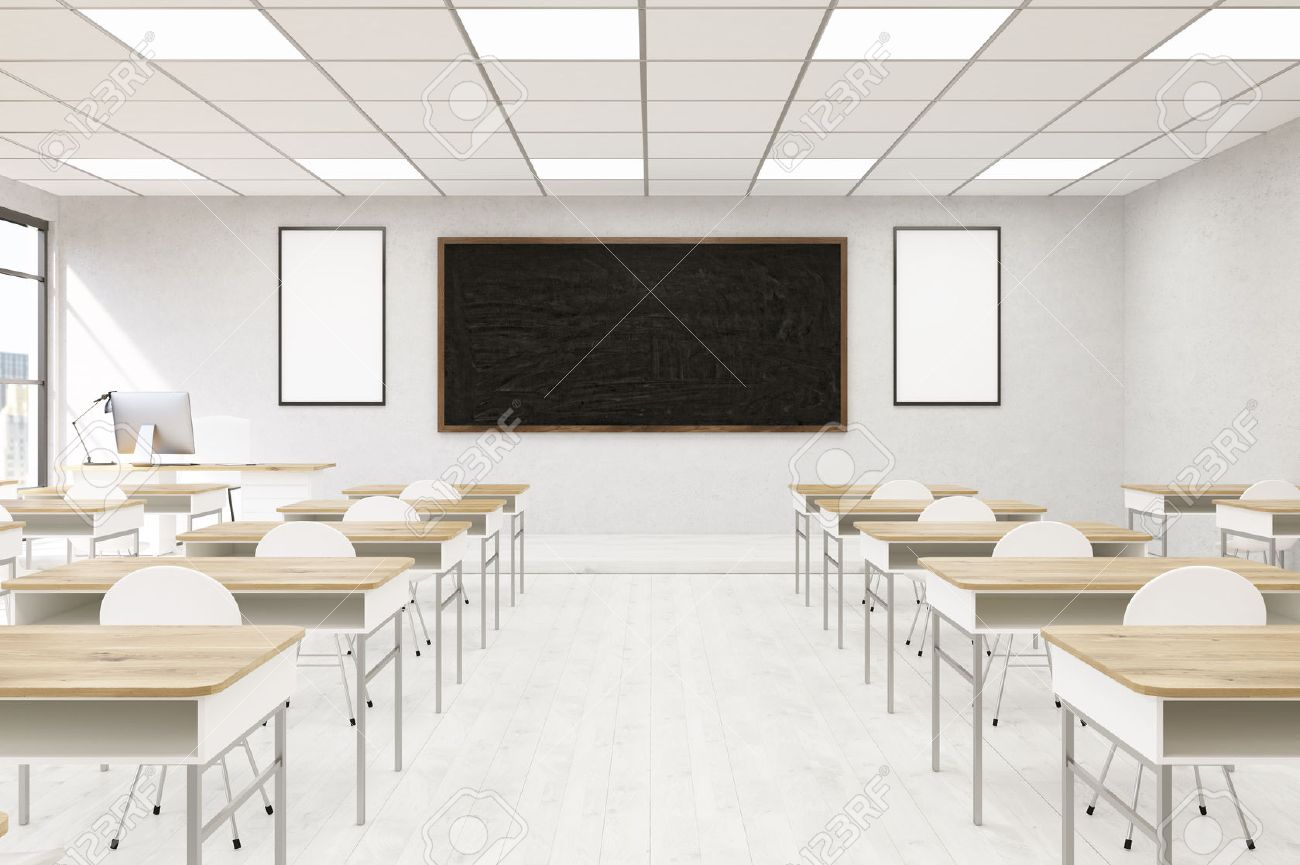 Modern Classroom Interior In College Desks With Chairs Computer