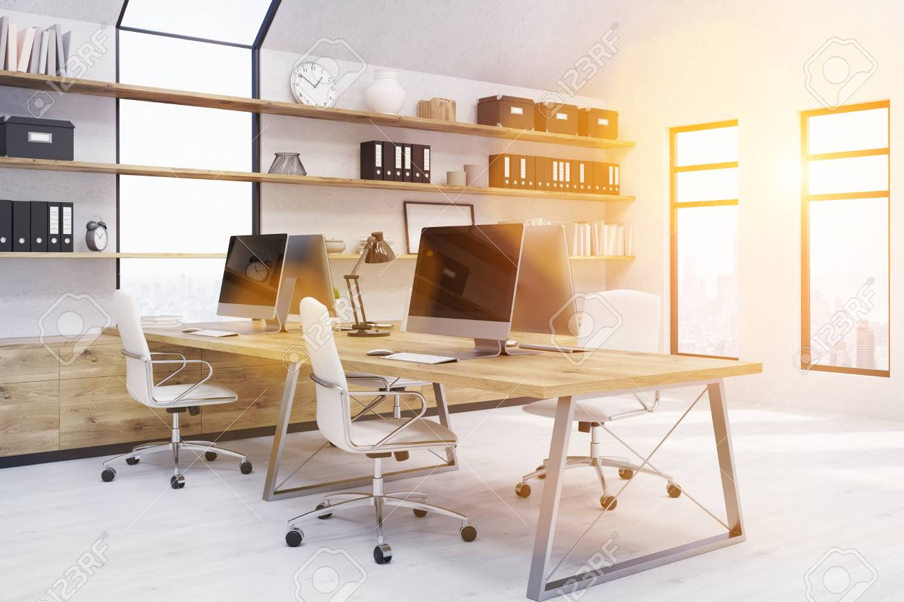 modern office workstations. Modern Office In New York. Workstations On Desk, Binders And Boxes Shelves. P