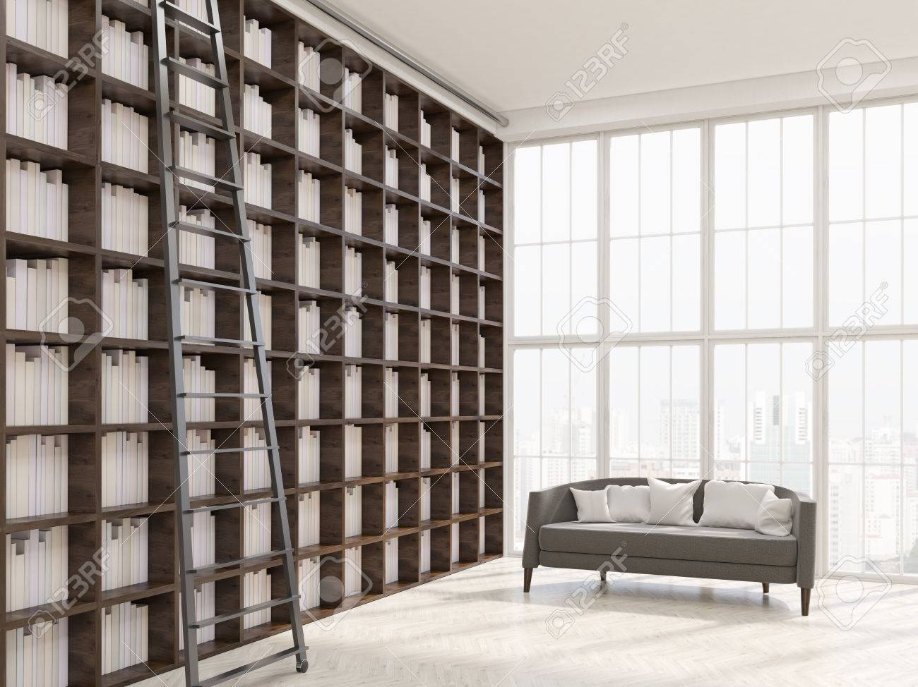 Interior Of House Library In Modern Apartment In New York. Long ...