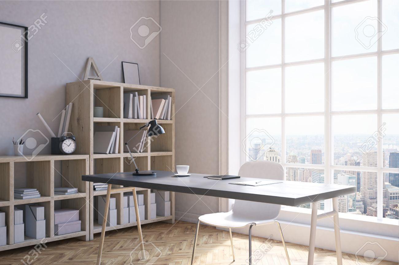 Home Office Ecke Interieur Im Modernen New York City. Regale Von ...