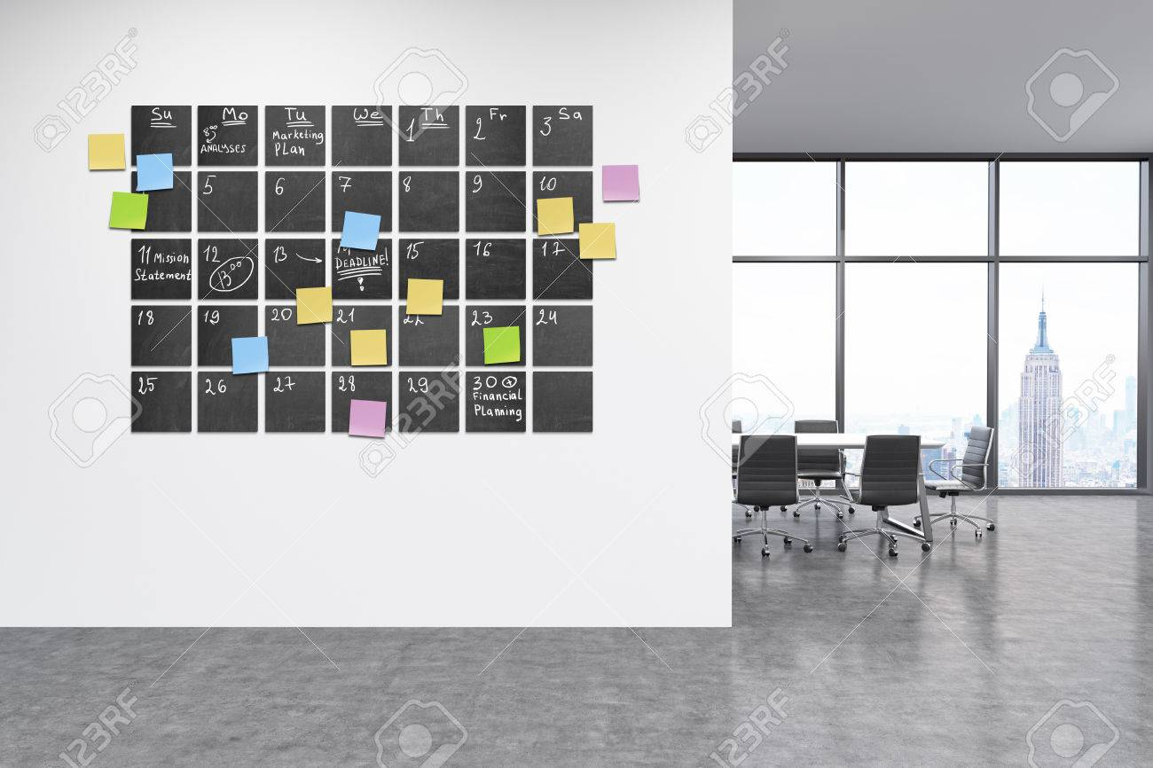 Calendar In Modern Office Interior Stikcy Note Notes On Wall