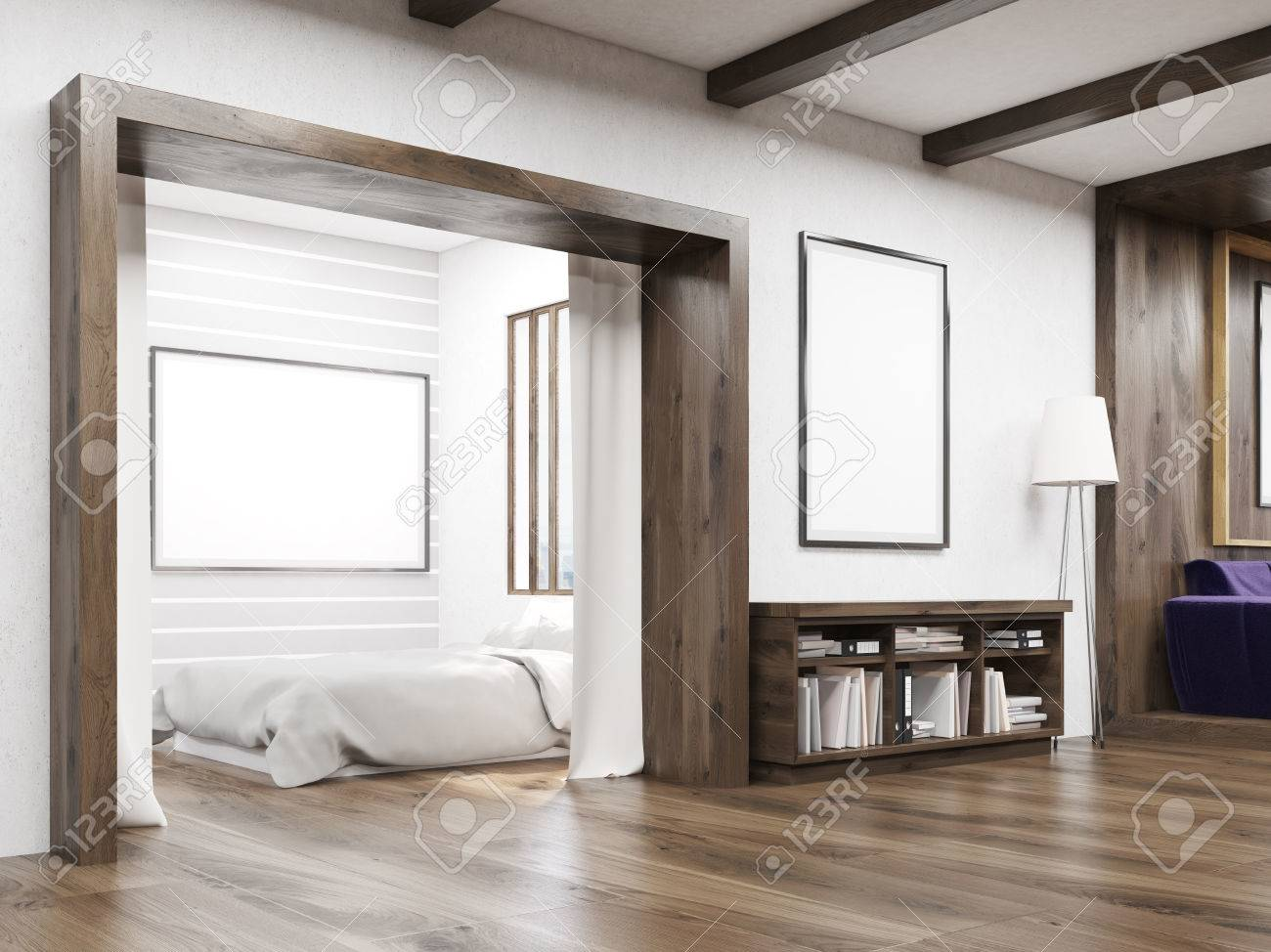 Bedroom And Living Room Interior In Modern Flat In Art Deco Style ...