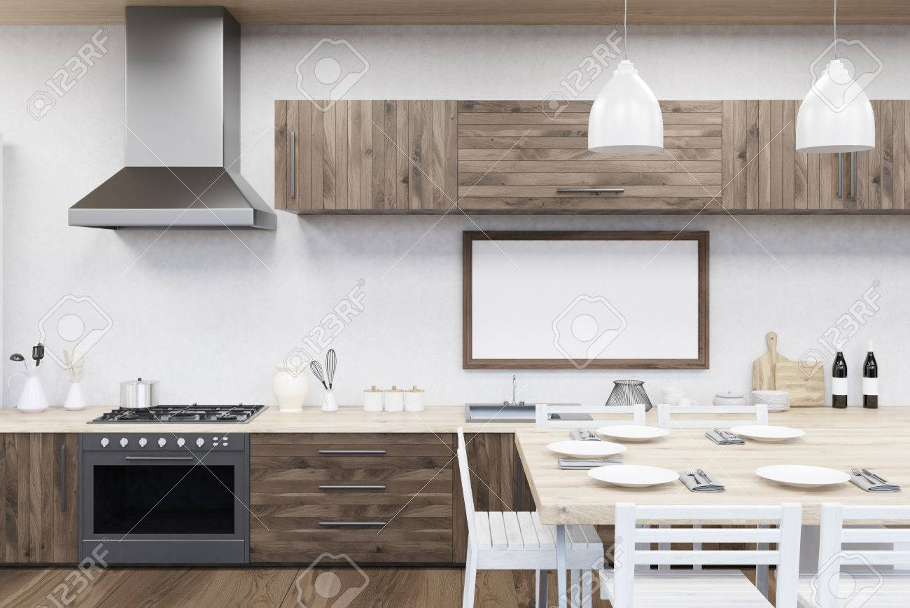Kitchen Interior In Modern Flat With Stove Dining Table Picture
