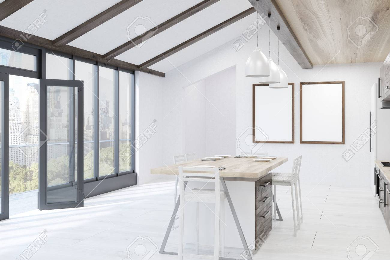 Moderne Küche Inter Mit Esstisch, Balkon Und Plakate. Konzept Der ...