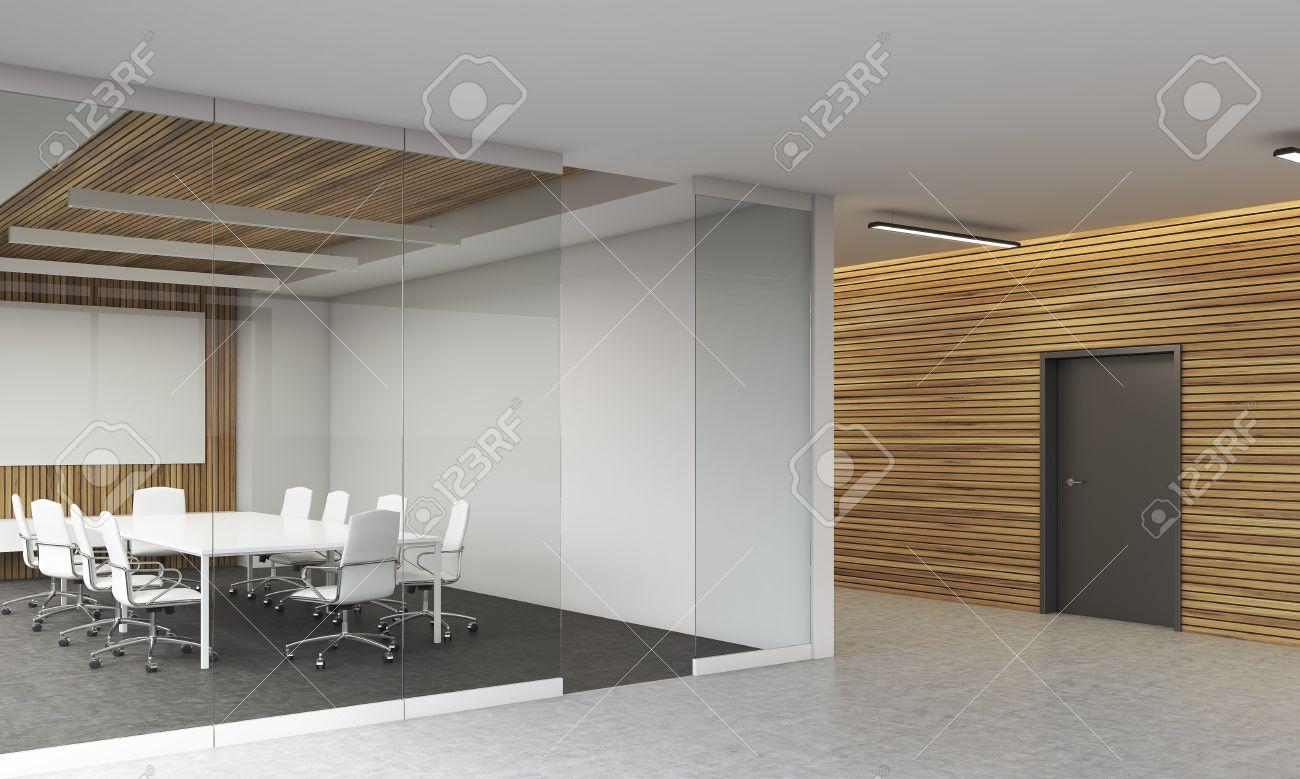 Salle de conférence intérieure dans le bureau moderne verre et