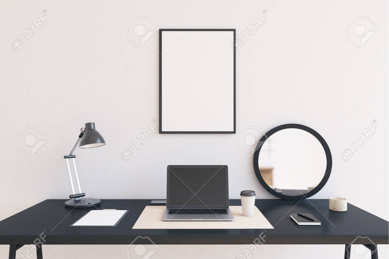 Modern Workspace At Home Office. Laptop In Center Of Table. Lamp ...
