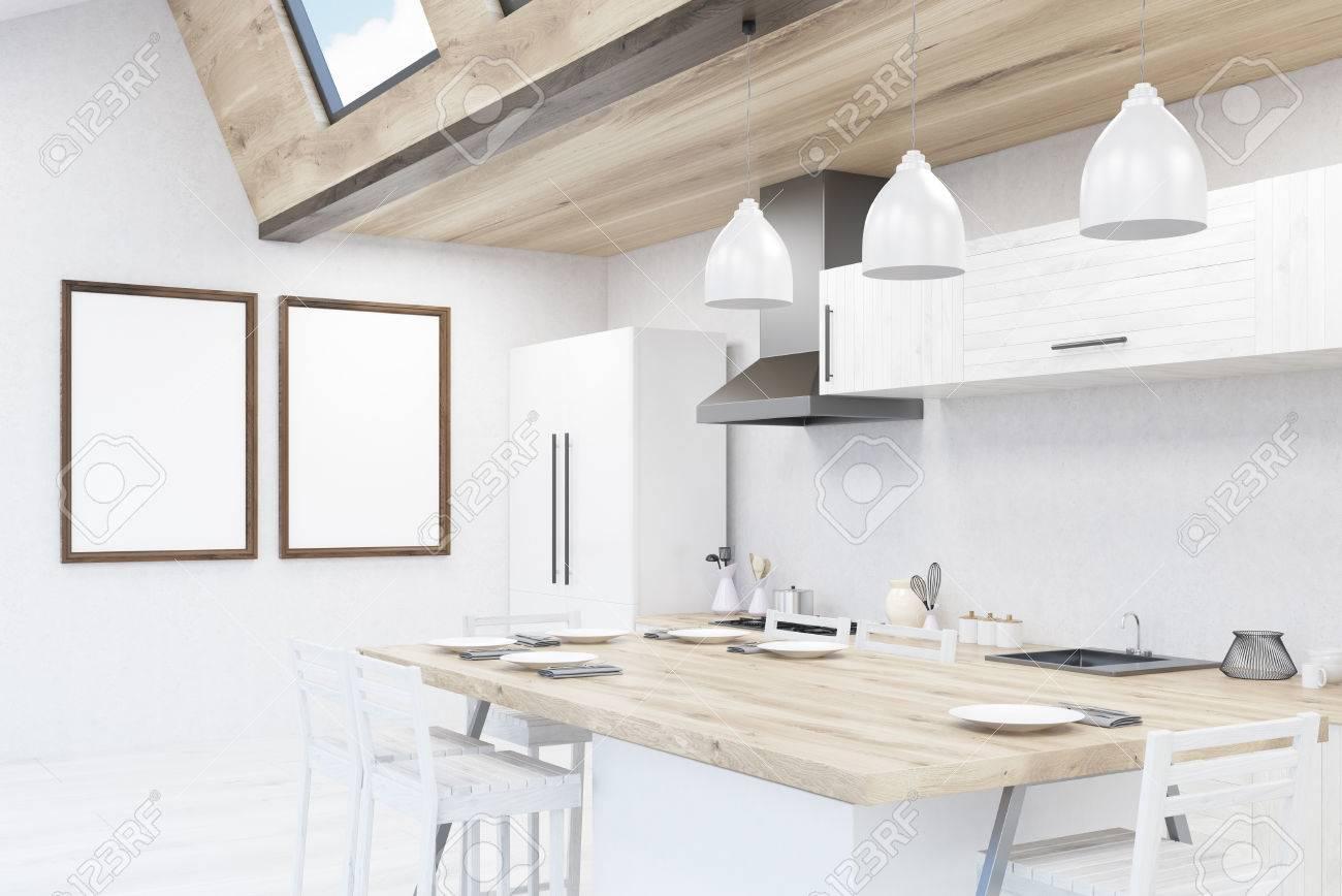 Moderne Küche Mit Esstisch, Kühlschrank, Zähler. Konzept Der Familie  Frühstück. 3D