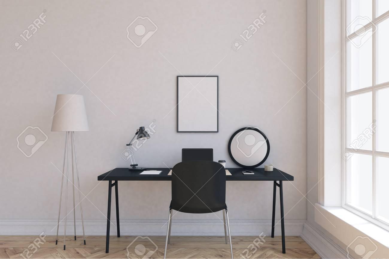 Stehlampe In Der Ecke Des Raumes Tisch Mit Laptop