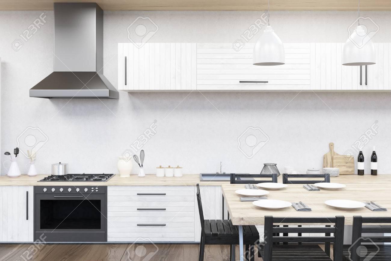 Kuche Inter Mit Herd Spule Zahler Esstisch Konzept Der Hauskuche