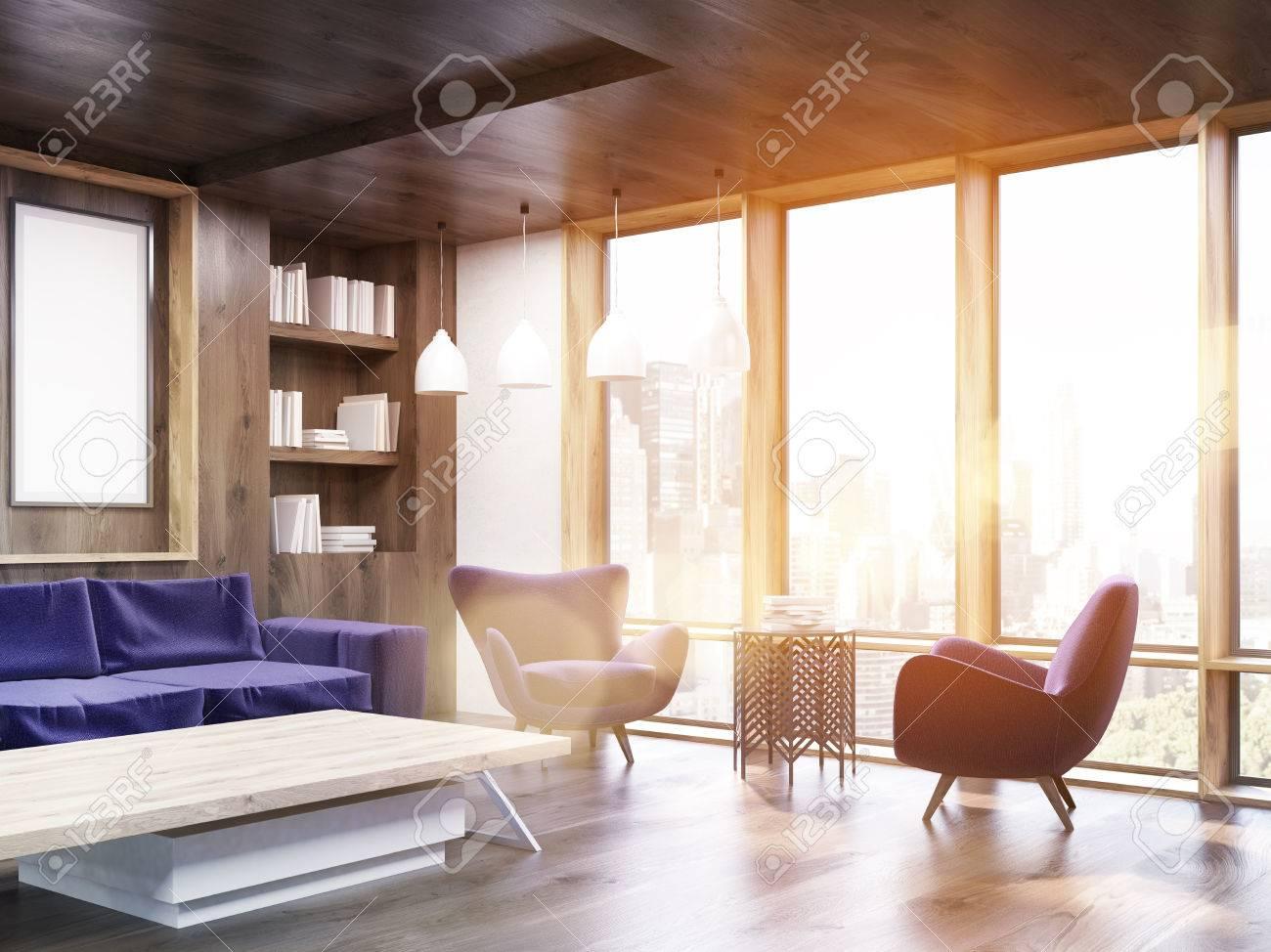 Appartement De New York Avec Un Canape Violet Une Table Basse Deux Fauteuils Et Une Affiche Bibliotheque Dans Le Coin Concept De Maison