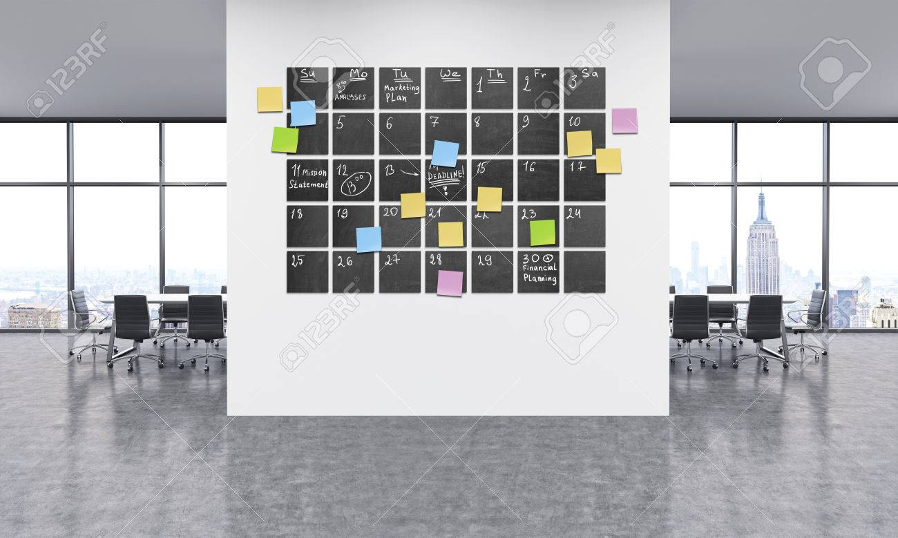 Calendario Grande.Office Interior With Large Calendar On White Wall And Lots Of