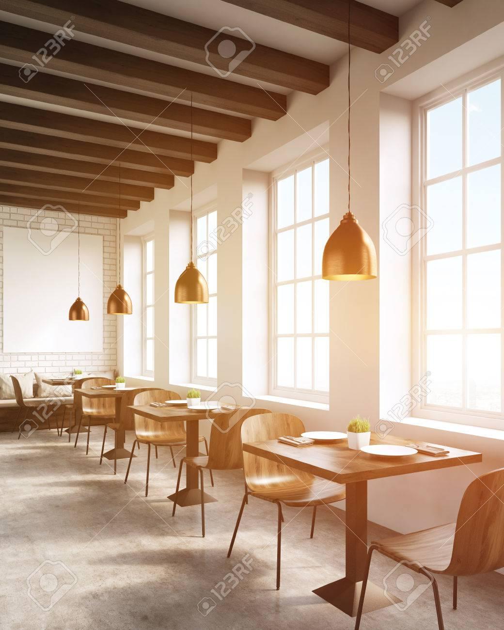 85e9cd714a10 Foto de archivo - Interior del restaurante en la gran ciudad. Sillas,  mesas, sofás y lámparas de techo. Concepto de promoción de negocios  locales. Las 3D.