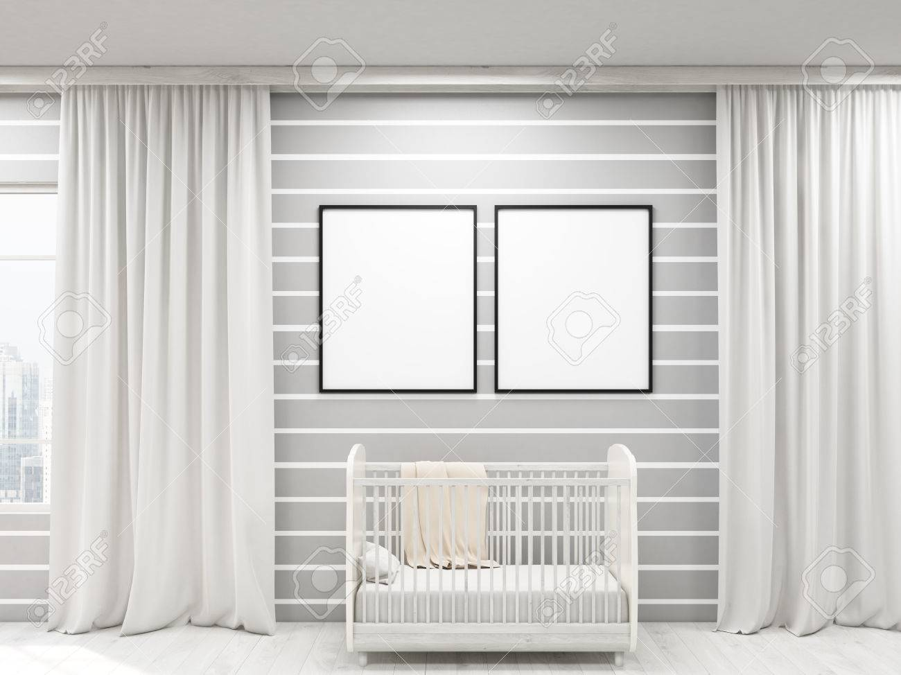 Mock ups of one bedroom two bedroom and three bedroom apartments - Mock Up Nursery With Two Posters Bed And Large Windows Frames Concept Of Cozy Apartment