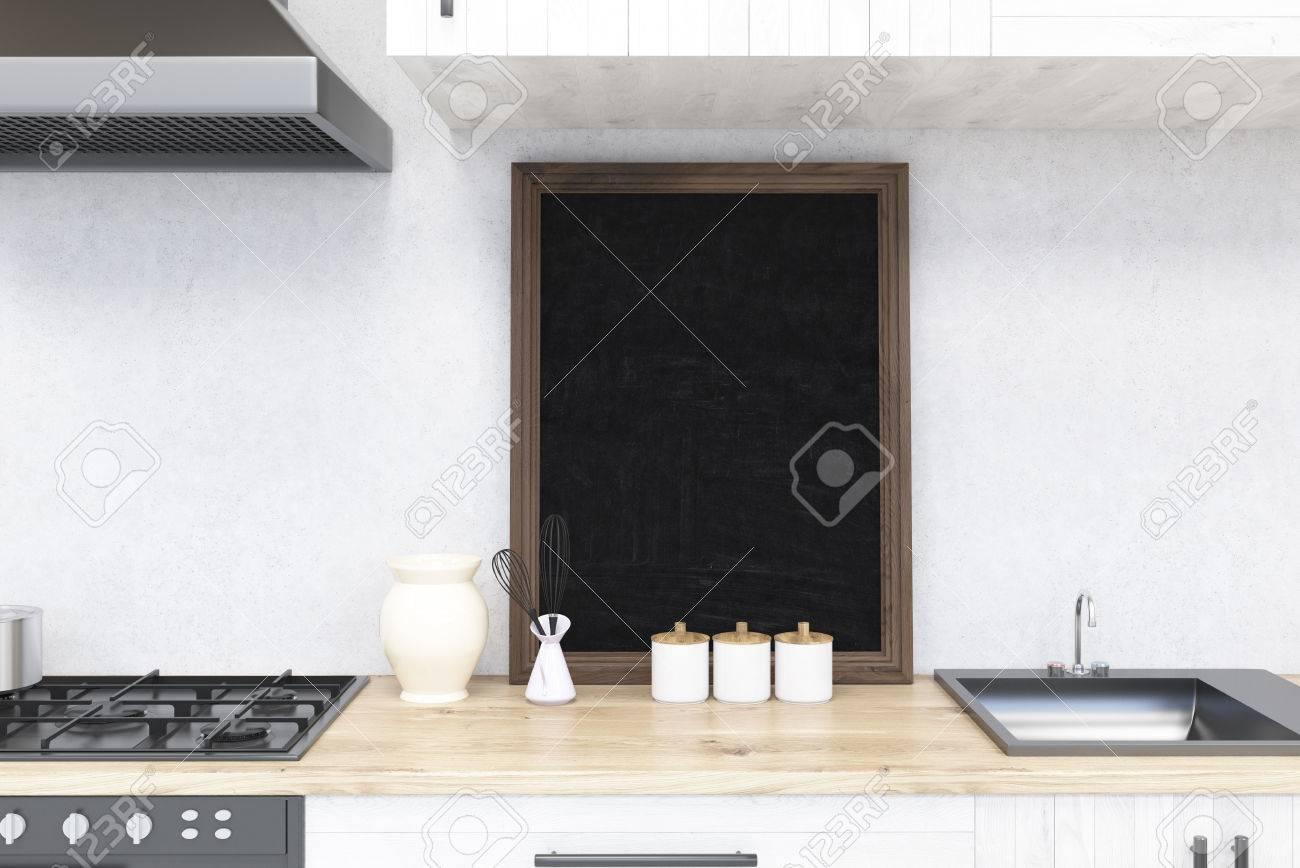 Küchentheke Mit Tafel Und Herd. Konzept Von Zu Hause Kochen. 3D ...
